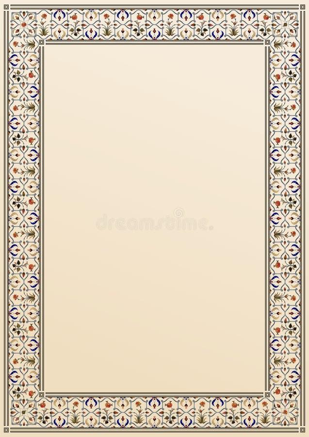 Kartka z tradycyjnym ozdobnym obramowaniem kwiatów indyjskich/arabskich/muzułmańskich, rozmiar A4 ilustracji