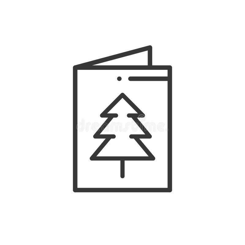 Kartki bożonarodzeniowa ikona Nowego Roku świętowanie dekorujący piktogram Xmas zimy element Cienka linii przyjęcia ikona Wektor  royalty ilustracja