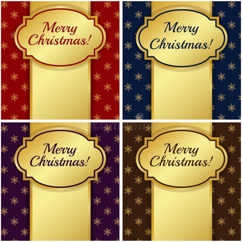 Kartki bożonarodzeniowa z złocistymi etykietkami. Wektorowa ilustracja. royalty ilustracja