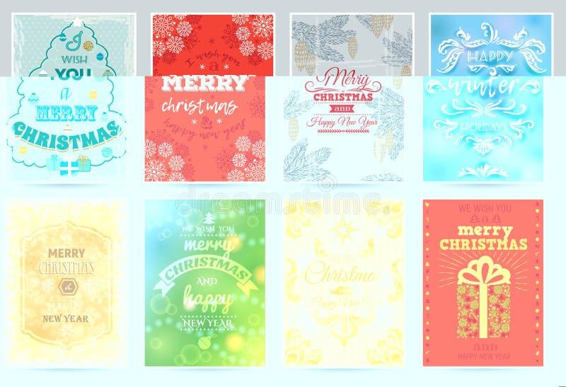 Kartki bożonarodzeniowa zimy wakacje powitania projekta dekoraci nowego roku xmas świętowania zaproszenia plakata wektorowy wesoł royalty ilustracja
