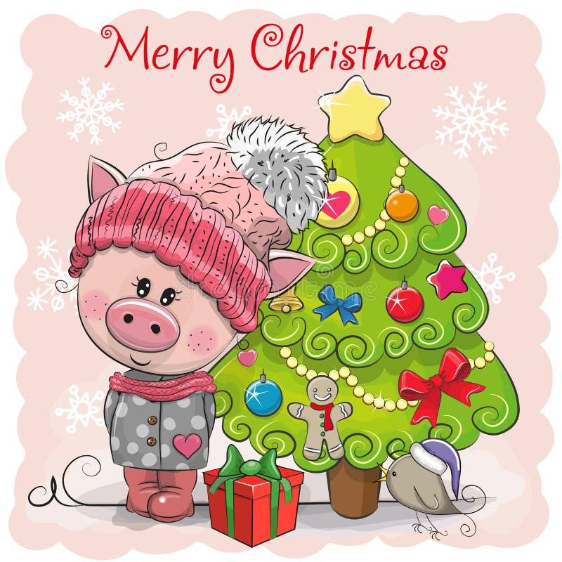 Kartki z pozdrowieniami Śliczna świnia w szaliku i kapeluszu ilustracji