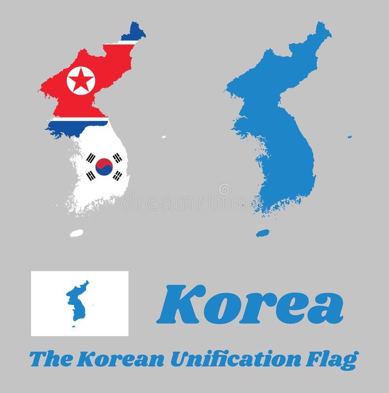 Kartlägga översikten av Nordkorea, Sydkorea och Koreahalvö och flaggan av båda med den koreanska sammanslagningflaggan vektor illustrationer