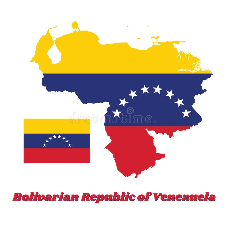 Kartlägga översikten av Venezuela, ett horisontaltricolor av guling, blått och rött med en båge av åtta vita stjärnor som centrer stock illustrationer