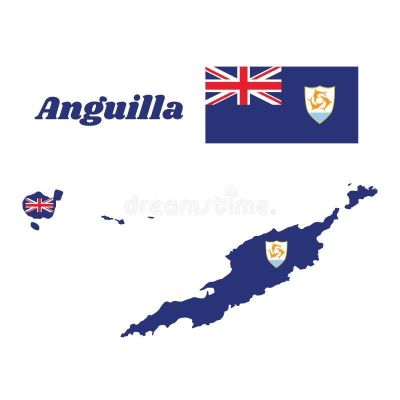 Kartlägga översikten och flaggan av Anguilla, blå flagga med den brittiska flaggan i kantonen som laddas med vapenskölden av Angu royaltyfri illustrationer