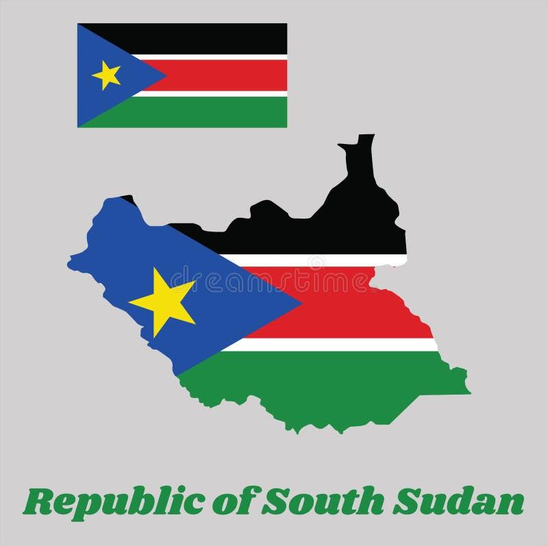 Kartlägga översikten och flaggan av södra Sudan, a-horisontaltricolor av svart, rött och gräsplan med vita band; med en liksidig  royaltyfri illustrationer