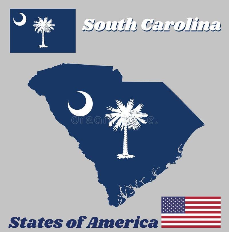 Kartlägga översikten och flaggan av South Carolina, det vita palmettoträdet på ett indigoblått fält Kantonen innehåller ett vitt  stock illustrationer