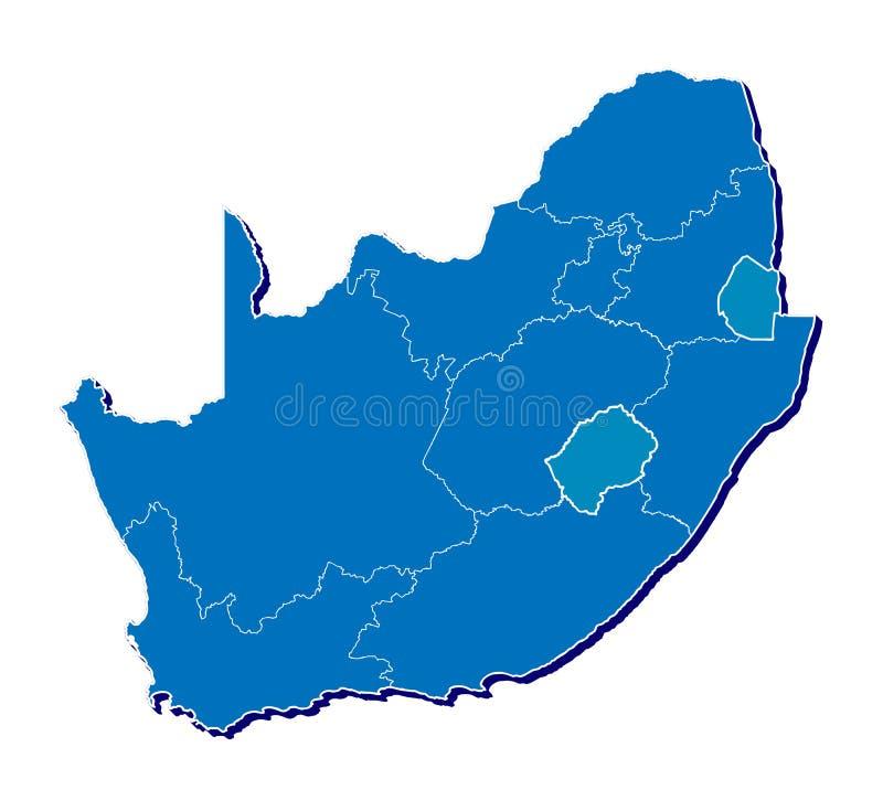 Sydafrika kartlägger i 3D royaltyfri illustrationer