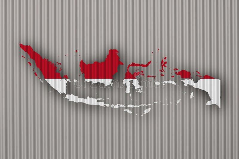 Kartlägga och flaggan av Indonesien på korrugerat järn stock illustrationer