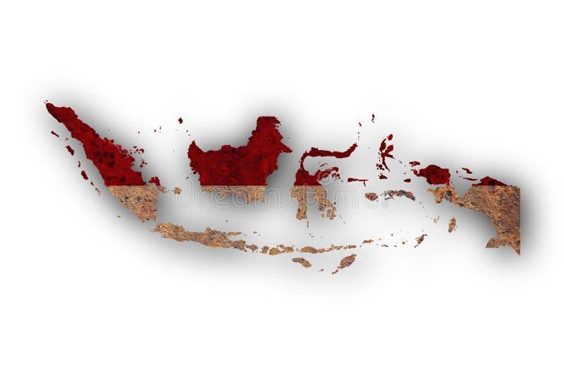 Kartlägga och flaggan av Indonesien på rostig metall stock illustrationer