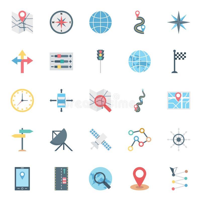 Kartlägga och klämma fast isolerade vektorsymboler som uppsättningen består med jordklotet, flaggan, pilar, översiktsstiftet, app royaltyfri illustrationer