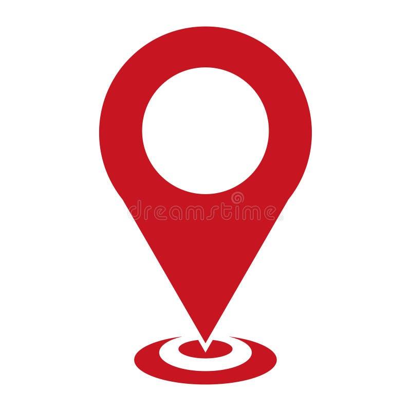 Kartlägga pekaresymbolen, GPS lägesymbolet, översiktsstifttecknet, översiktssymbolstecken på vit bakgrund, pilstiftlogoen, lägete vektor illustrationer