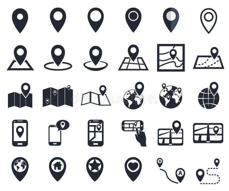 Kartlägga pekaresymboler, gps-lägesymbolet för navigering stock illustrationer