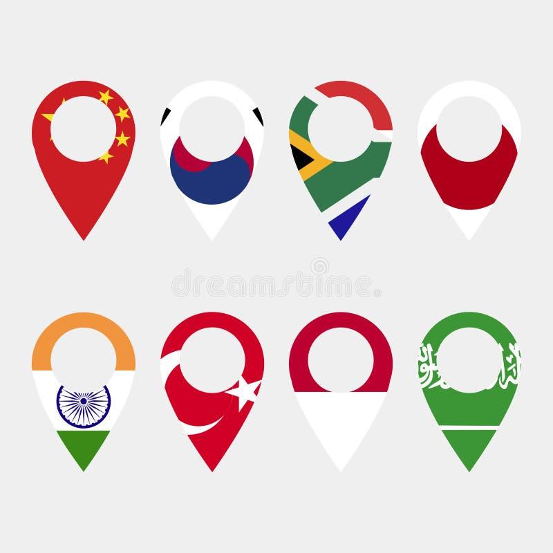 Kartlägga pekaresymboler med flaggor på en grå bakgrund royaltyfri illustrationer