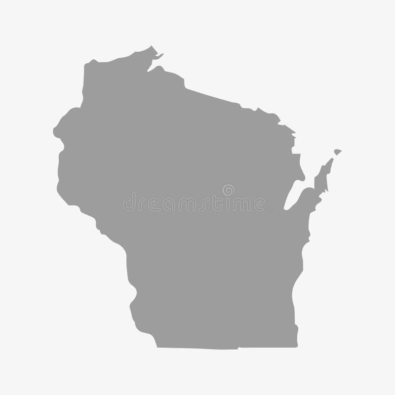 Kartlägga tillståndet av Wisconsin i grå färger på en vit bakgrund royaltyfri illustrationer