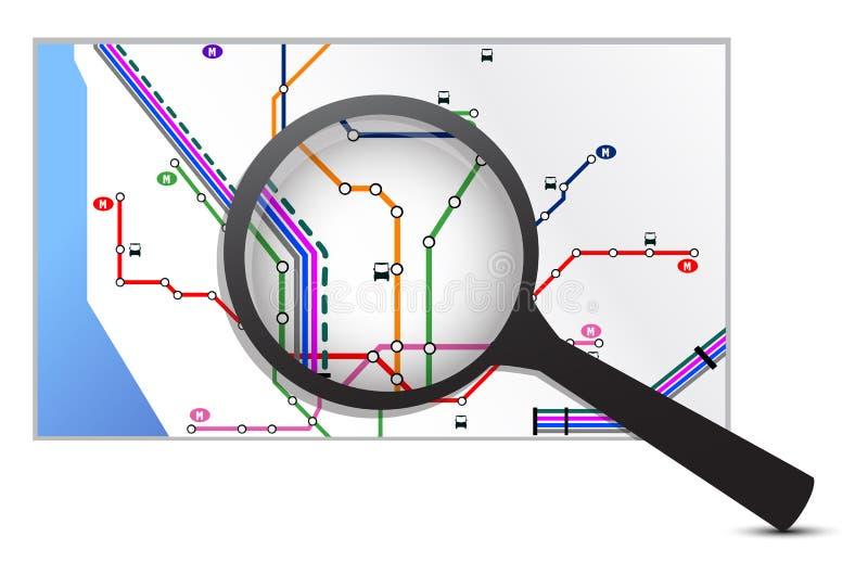 Kartlägga under en förstoringsapparat stock illustrationer