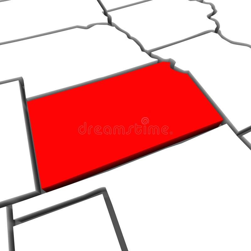 Kartlägger den statliga Kansas röda abstrakt begrepp 3D United States Amerika royaltyfri illustrationer