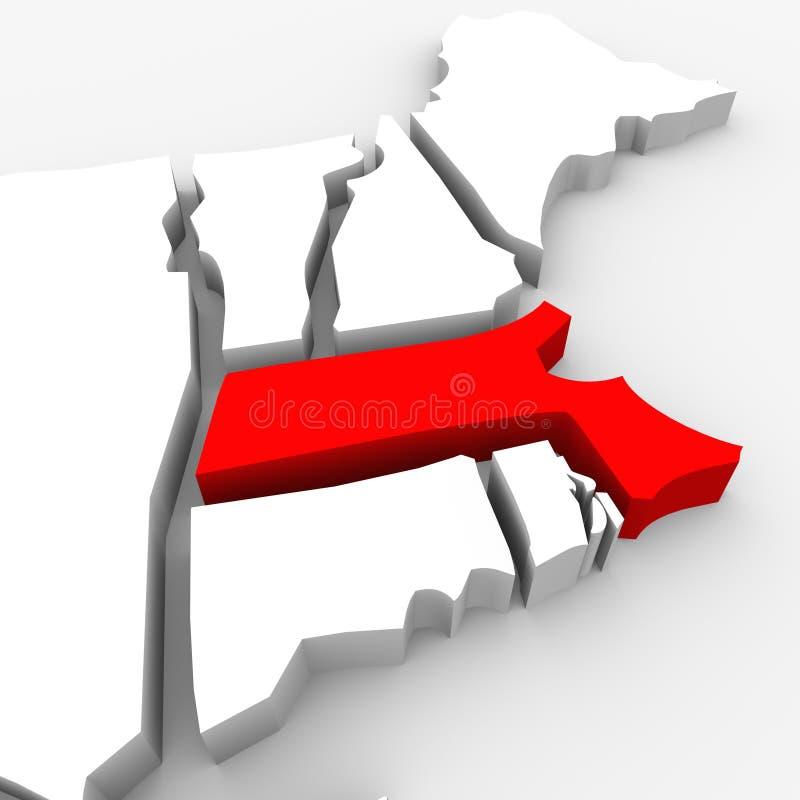 Kartlägger den statliga Massachusetts röda abstrakt begrepp 3D United States Amerika royaltyfri illustrationer