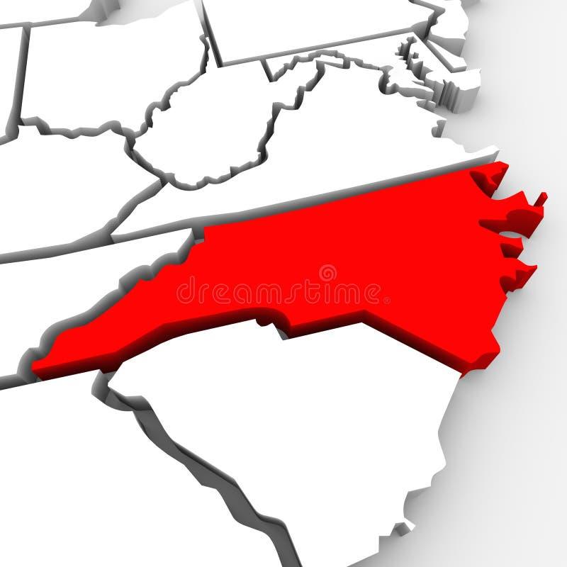 Kartlägger den statliga North Carolina röda abstrakt begrepp 3D United States Amerika royaltyfri illustrationer