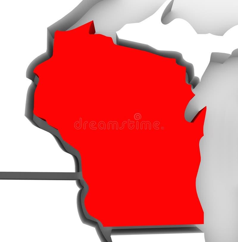 Kartlägger den statliga Wisconsin röda abstrakt begrepp 3D United States Amerika royaltyfri illustrationer
