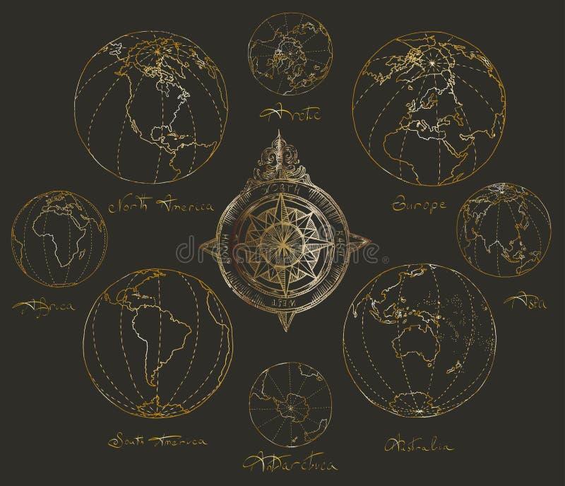 Kartlägger kartbokkontinenter royaltyfria foton