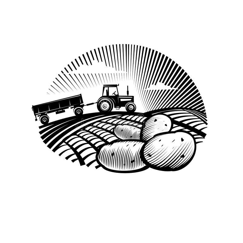 Kartoffel gegen Bauernhoftraktor auf einem Gebiet vektor abbildung