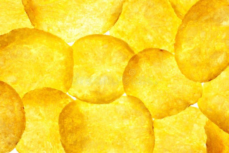 Kartoffelchip-Hintergrund/Chipsletten/Makro stockfoto