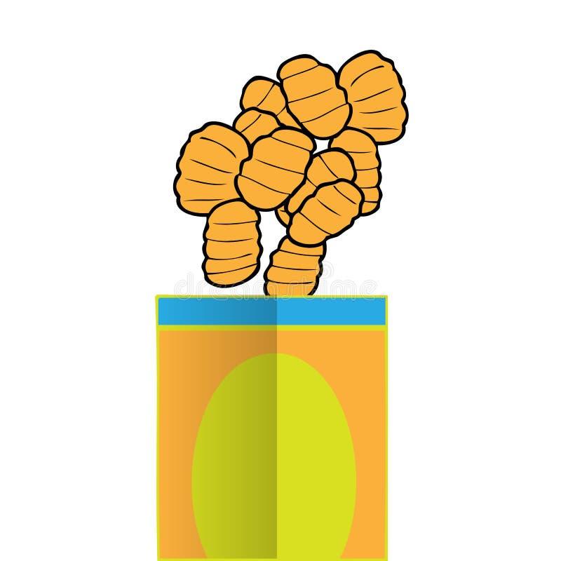 Kartoffelchip-Karikaturzeichnung stock abbildung