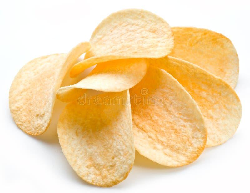 Kartoffelchip-Weißhintergrund stockbilder