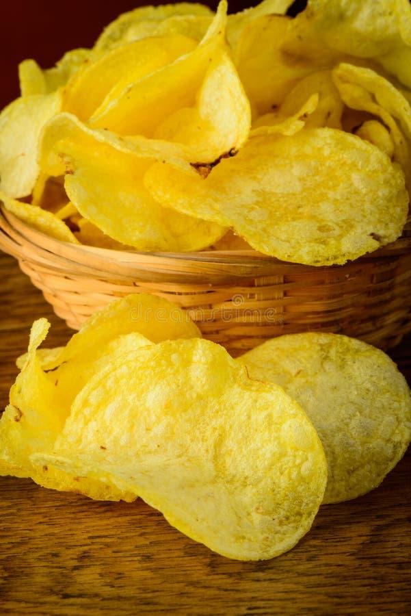Kartoffelchipnahaufnahme lizenzfreie stockfotos