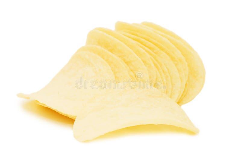 Kartoffelchips getrennt über Weiß stockbilder