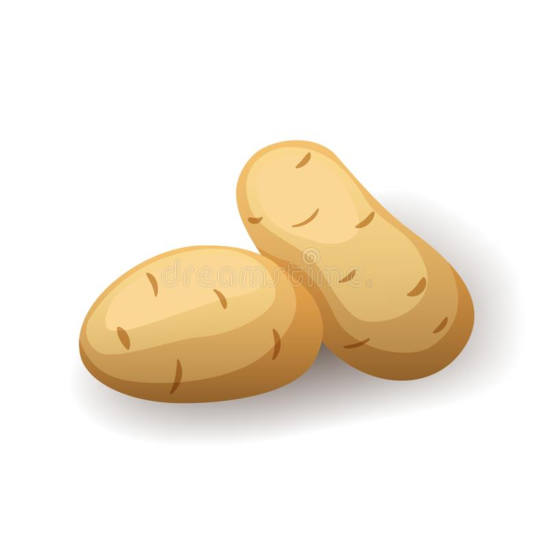 Kartoffeln, frisch in Schälensymbol isoliert, landwirtschaftlich gesunde Lebensmittel, Gemüse, Vektorgrafik vektor abbildung