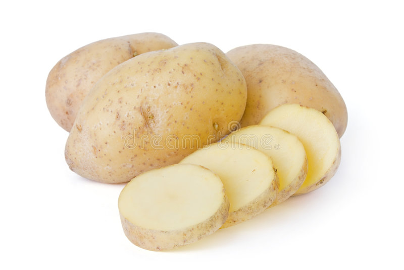 Kartoffeln getrennt auf weißem Hintergrund lizenzfreie stockfotos