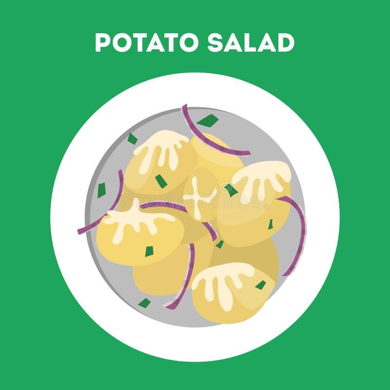 Kartoffelsalat in einer Platte Geschmackvoller Teller mit Gemüse vektor abbildung