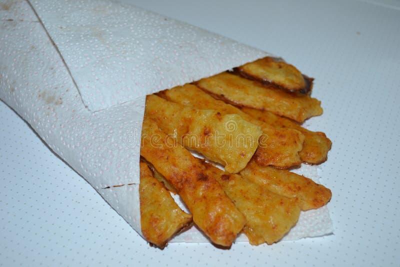 Kartoflany stics - fotografia skończony naczynie obraz stock