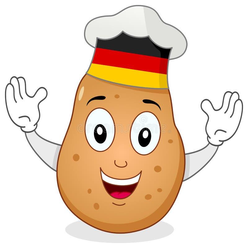 Kartoflany szefa kuchni charakter z Niemieckim kapeluszem royalty ilustracja