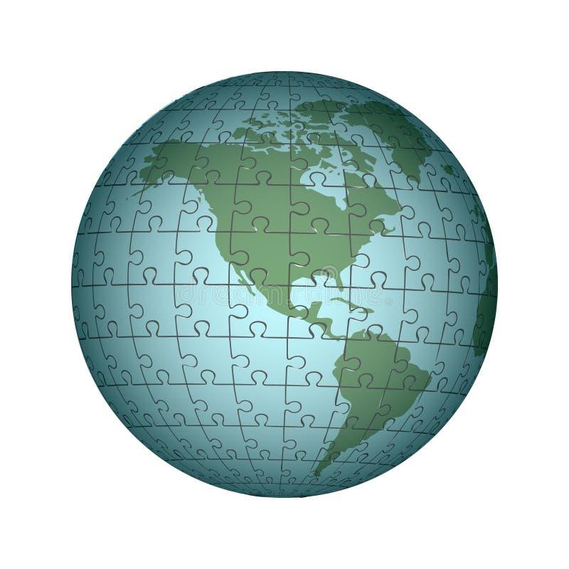 Kartografiskt pussel av Amerika Infographics kartografi stock illustrationer