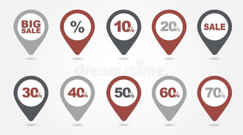 Kartografować szpilek ikon sprzedaż ilustracja wektor