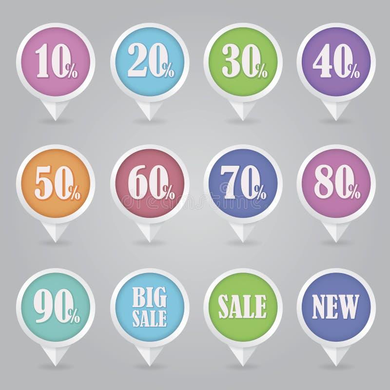 Kartografować szpilek ikon sprzedaż ilustracji