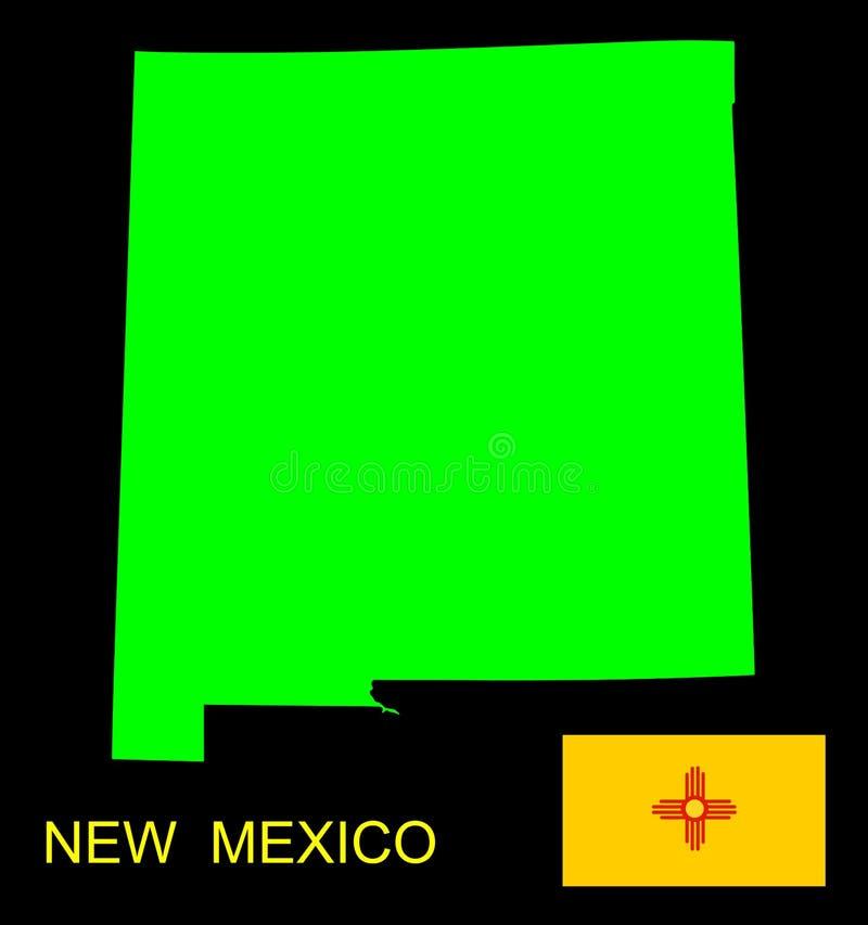 Kartografuje i flaga stan Nowy - Mexico ilustracji