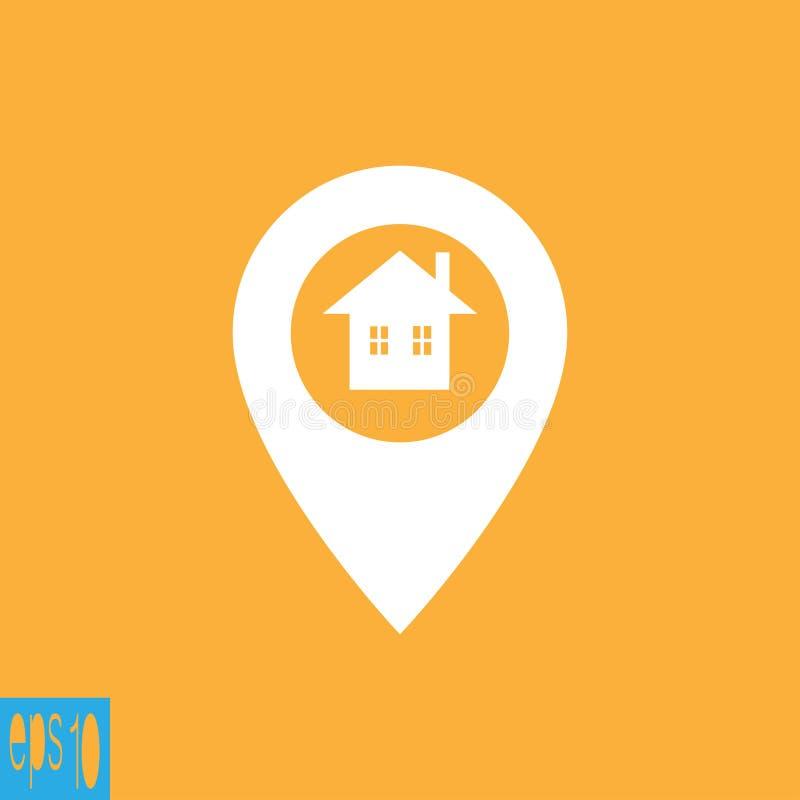 Kartografuje ikonę, dom, domowa ikona - wektorowa ilustracja ilustracji