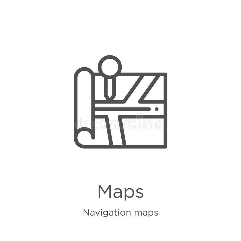 kartografuje ikona wektor od nawigacji map kolekcji Cienka kreskowa mapa konturu ikony wektoru ilustracja Kontur, cienka linia ka royalty ilustracja