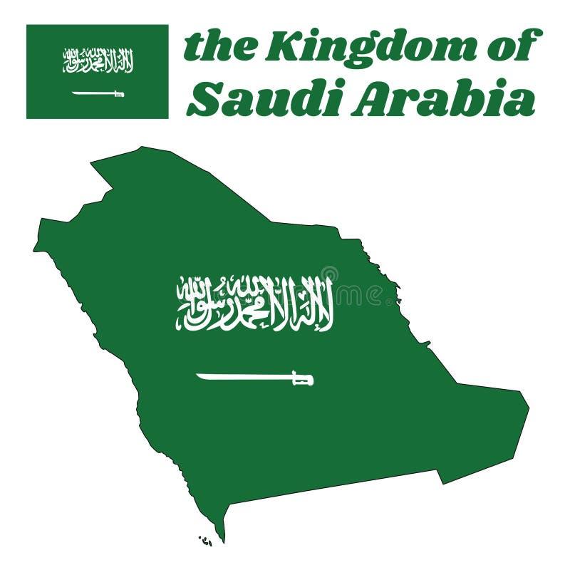 Kartografuje kontur i flaga Jemen, zielony pole z Shahada lub Muzułmański kredo pisać w Thuluth piśmie w bielu nad saber, royalty ilustracja