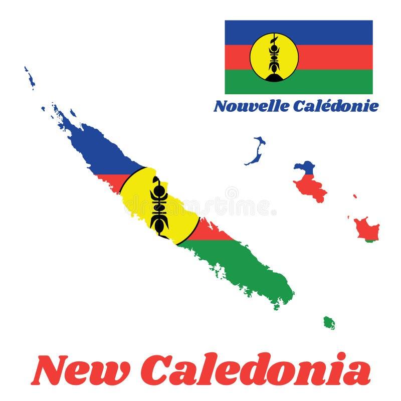Kartografuje kontur i flaga Nowy Caledonia, A horyzontalny błękitny, czerwony tricolour, i zieleń z żółtym dyskiem z pionowo symb royalty ilustracja