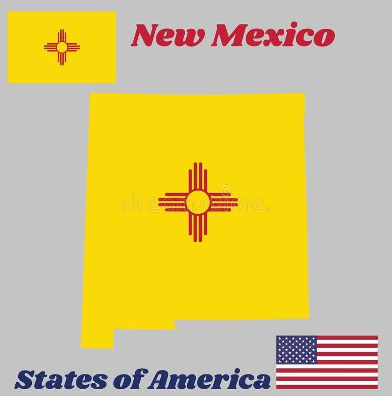 Kartografuje kontur i flaga Nowy - Mexico czerwień i kolor żółty stary Hiszpania, Antyczny Zia słońca symbol w czerwieni ilustracja wektor
