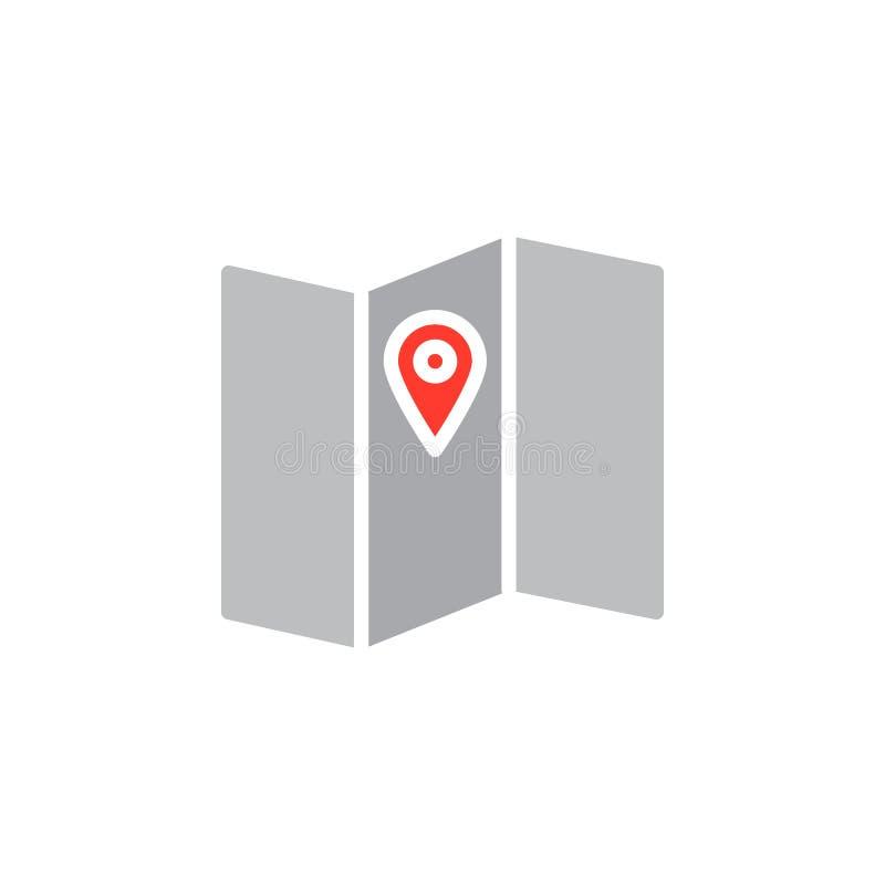 Kartografuje lokaci ikony wektor, wypełniający mieszkanie znak, stały kolorowy piktogram odizolowywający na bielu ilustracja wektor