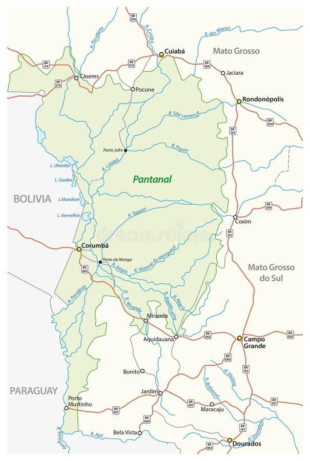 Kartografuje Pantanal wielki tropikalny bagna w świacie, Brazylia ilustracji