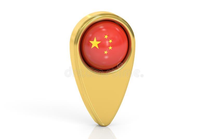 Kartografuje pointeru z flaga Chiny, 3D rendering royalty ilustracja