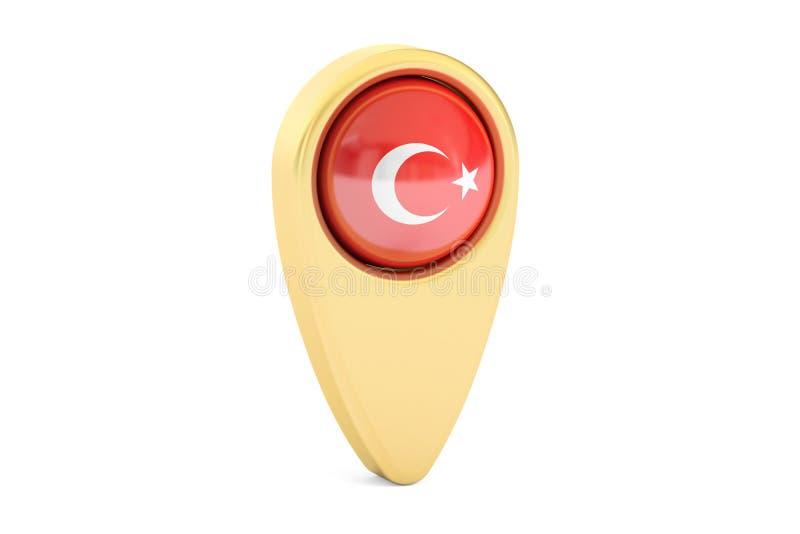 Kartografuje pointeru z flaga Turcja, 3D rendering ilustracja wektor