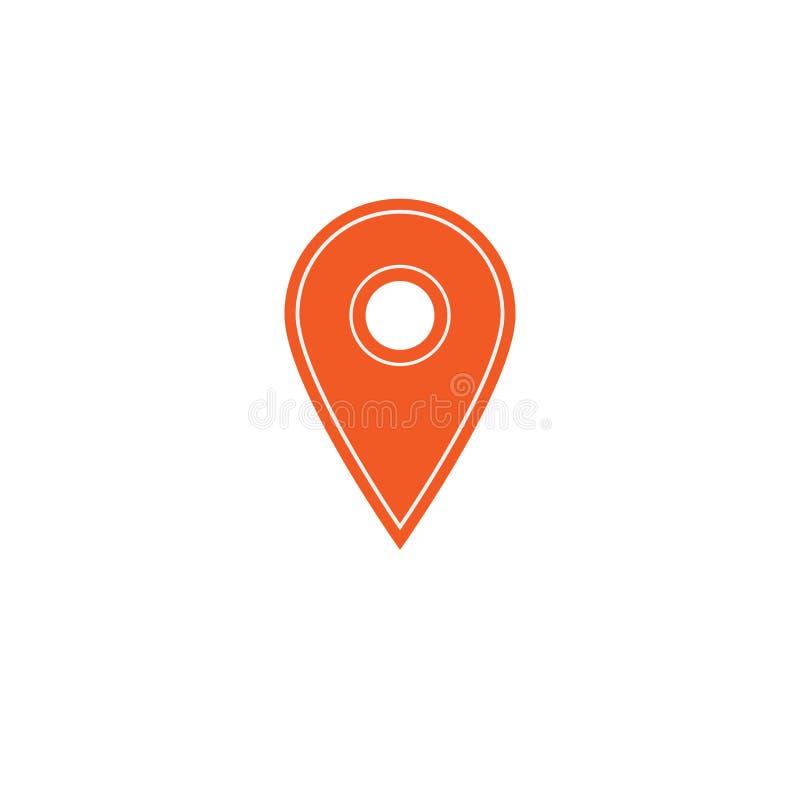 Kartografuje szpilki, gps pointeru ocena, pomarańczowa wektorowa ikona ilustracji