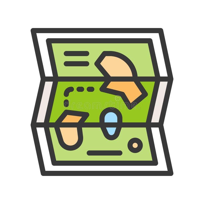 Kartografuje wektorową ikonę, wypełniający konturu stylu editable uderzenie ilustracji